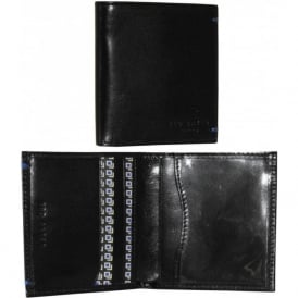 'Warholl' Printed Compact Bi-fold Leather Wallet, Black