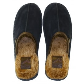 Youngi Suede Slip-on Slippers, Dark Blue