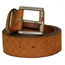 Textured Leather Belt, Tan Brown