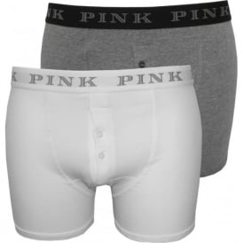 2-Pack Baker Button-Fly Boxer Trunks, White/Grey
