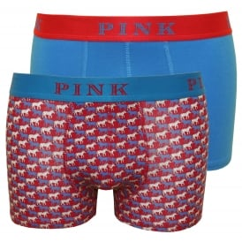 2-Pack Norcott Zebra Print & Solid Boxer Trunks, Red/Blue