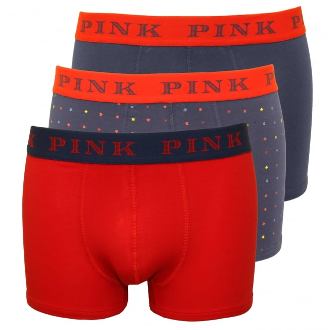 Thomas Pink 3-Pack Fleet Card Print Boxer Trunks, Navy/Red/Navy