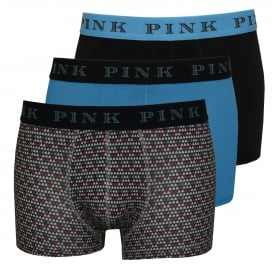 3-Pack Havelock Boxer Trunks, Pear Print/Navy/Blue