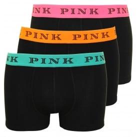 3-Pack Sloane Cotton Stretch Boxer Trunks, Black with Orange/Pink/Blue