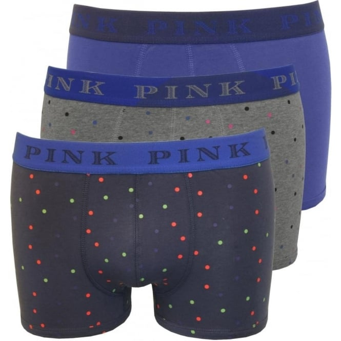 Thomas Pink 3-Pack Strand Spot & Solid Boxer Trunks, Blue/Grey
