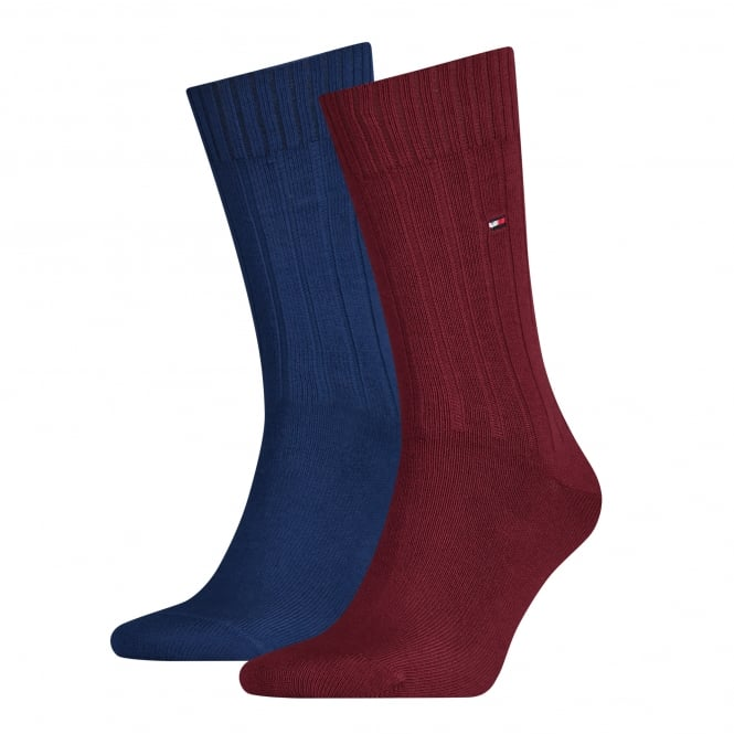 Tommy Hilfiger 2-Pack American Heritage Series Ribbed Socks, Burgundy/Navy