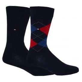 2-Pack Argyle & Solid Socks, Red/Navy
