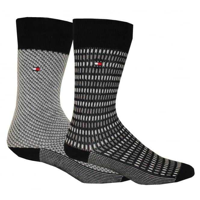Tommy Hilfiger 2-Pack Birdseye & DNA Stripe Socks, Black/Grey
