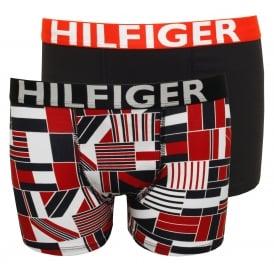0683b90d4f85 2-Pack Block Flag Print Bold Logo Boys Boxer Trunks, Red/Navy Kids. Tommy  Hilfiger ...