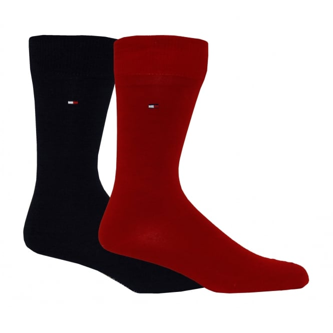 Tommy Hilfiger 2-Pack Classic Socks, Red/Navy