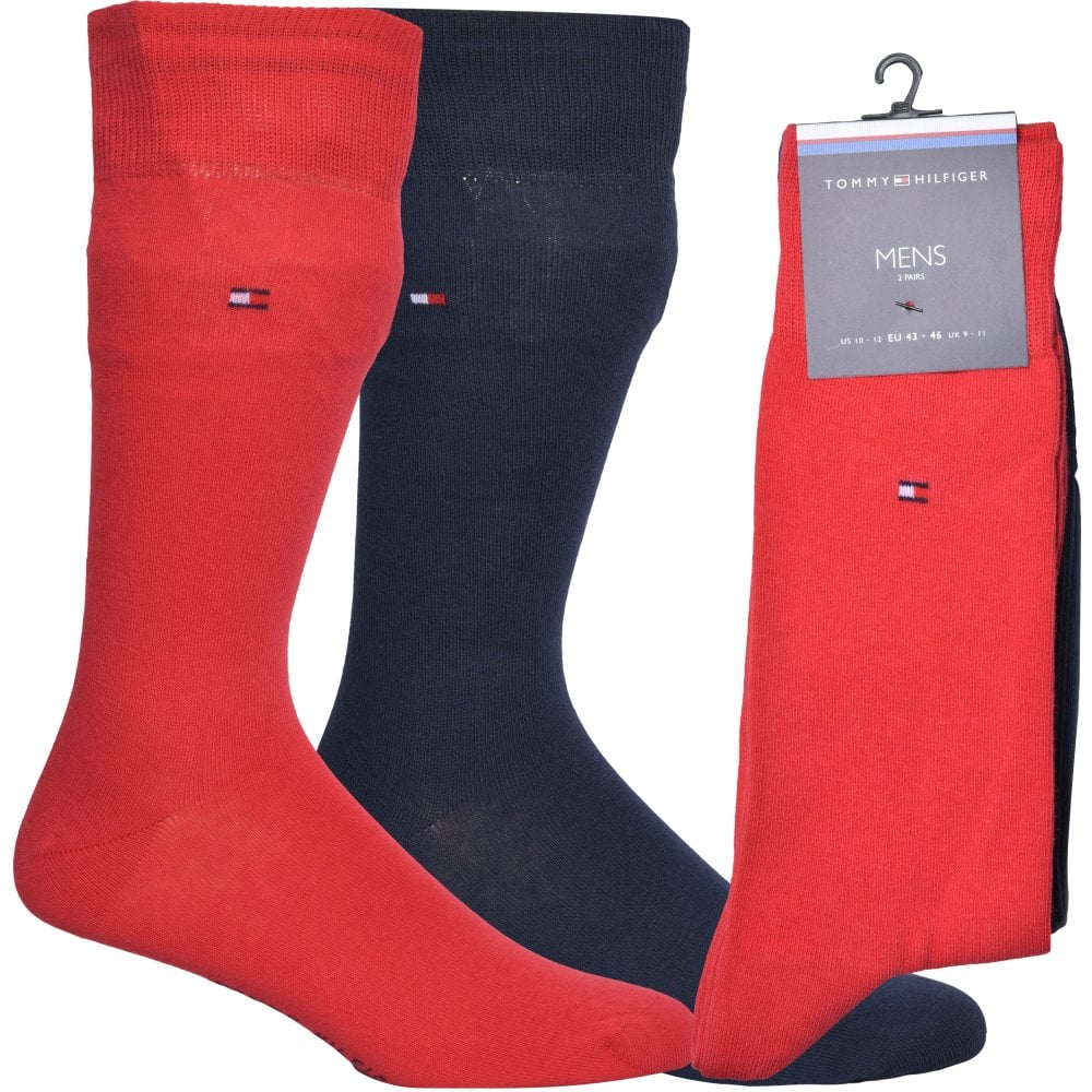 TOMMY HILFIGER Grey Navy Red Quality SOCKS UNISEX UK foot 6-8 or 9-11 2 PAIRS