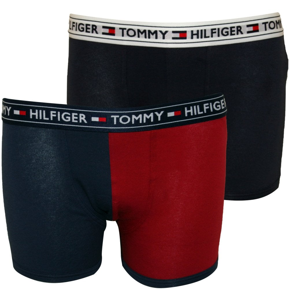 ff4ebdadd3 Tommy Hilfiger 2-Pack Colour Block Logo Boys Boxer Trunks | UnderU