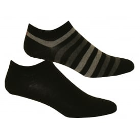 2-Pack Duo Stripe Trainer Socks, Black/Grey
