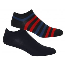 2-Pack Duo Stripe Trainer Socks, Navy/Red