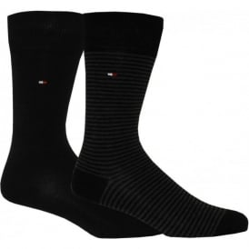 2-Pack Fine Stripe & Solid Socks, Black