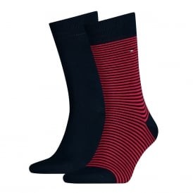 2-Pack Fine Stripe & Solid Socks, Navy/Red