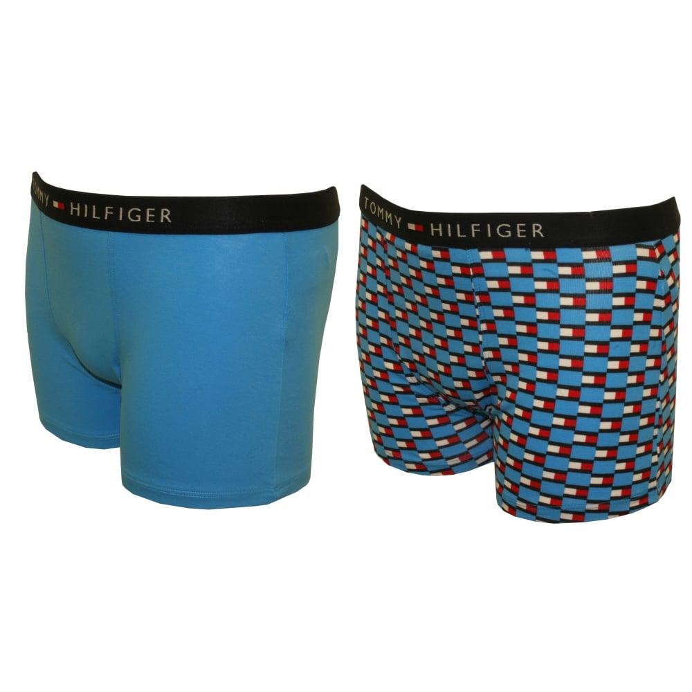 Blue Tommy Hilfiger 2-Pack Icon Flag Logo Print Boys Boxer Trunks
