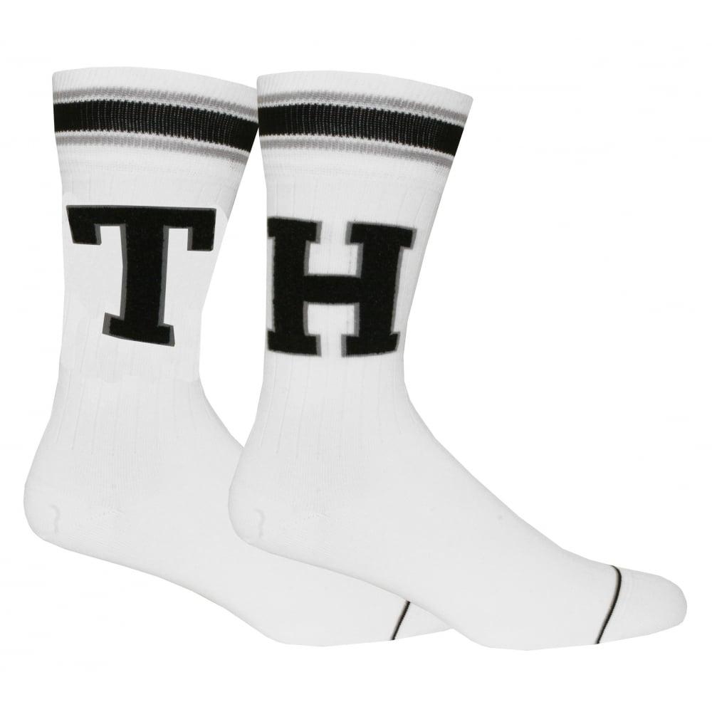 Black//White Tommy Hilfiger 2-Pack Retro Logo Ribbed Men/'s Sports Socks