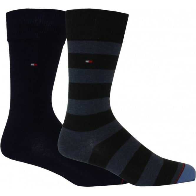 Tommy Hilfiger 2-Pack Rugby Stripe & Solid Socks, Navy