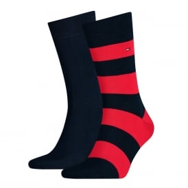 2-Pack Rugby Stripe & Solid Socks, Navy/Red