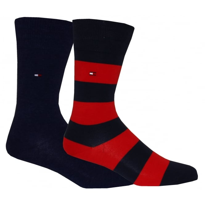 Tommy Hilfiger 2-Pack Rugby Stripe & Solid Socks, Navy/Red