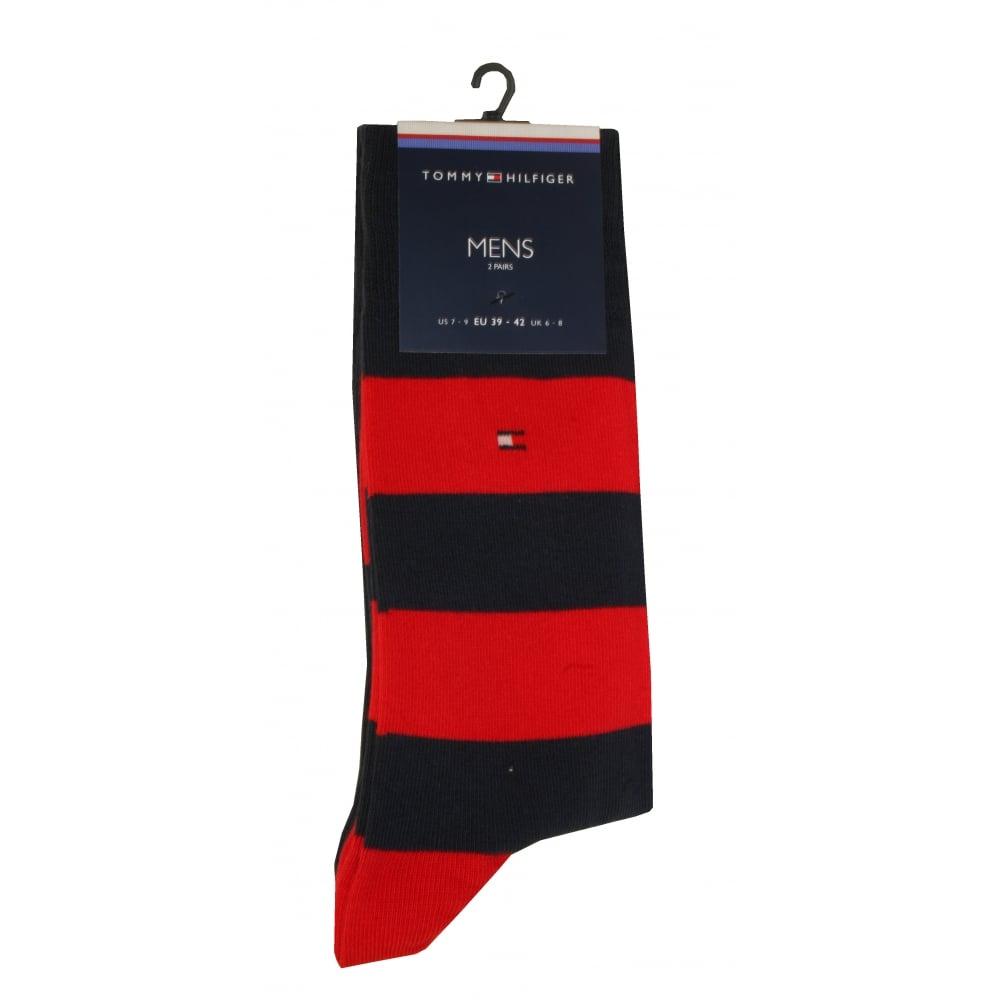 Navy//Red Tommy Hilfiger 2-Pack Rugby Stripe /& Solid Men/'s Socks
