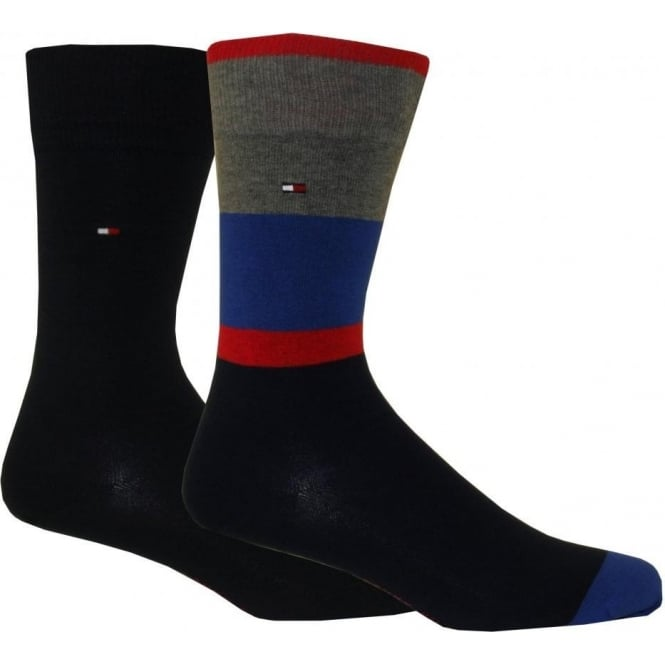 Tommy Hilfiger 2-Pack Soft Cotton Socks, Stripes/Navy