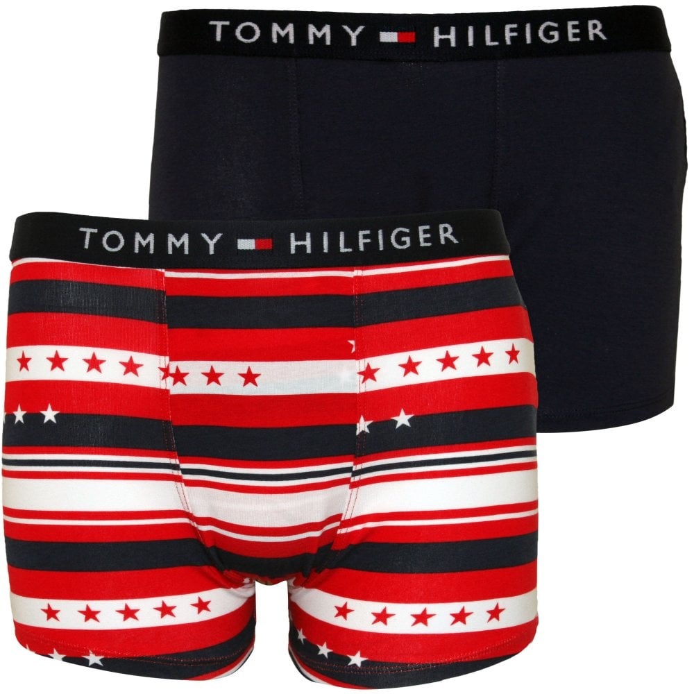 fa8bb48c78 Tommy Hilfiger 2-Pack Stars & Stripes Boys Boxer Trunks, Navy | UnderU