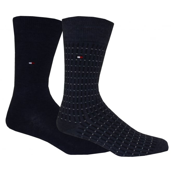 Tommy Hilfiger 2-Pack Two-tone Dots & Stripes Socks, Jeans Blue