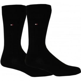 2-Pack Upland Ribbed Cotton Socks, Black
