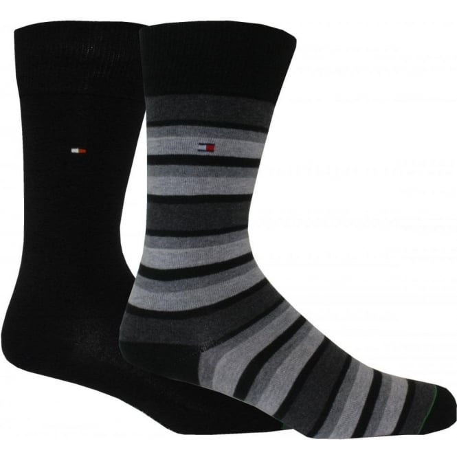 Tommy Hilfiger 2-Pack Variation Stripe & Solid Socks, Black