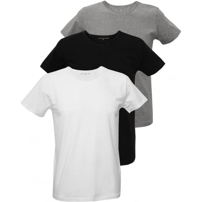 2e1f1864 Tommy Hilfiger 3-Pack Premium Crew-neck T-Shirts, Black/White/Grey ...