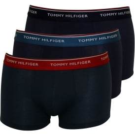 3-Pack Premium Essentials Boxer Trunks, Navy with red/navy/blue