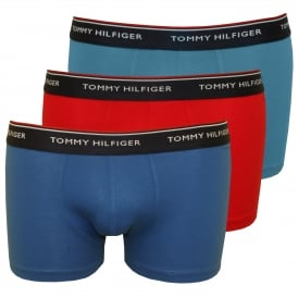 3-Pack Premium Essentials Boxer Trunks, Red/Blue