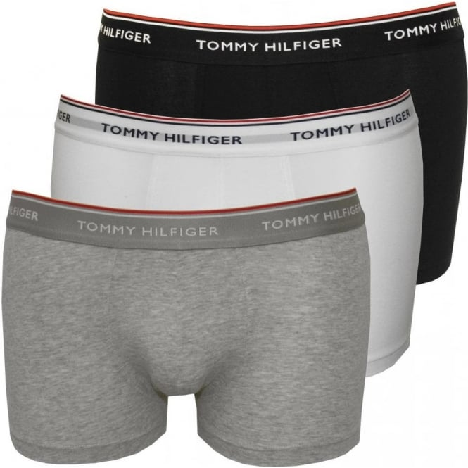 Tommy Hilfiger 3-Pack Premium Stretch Boxer Trunks, Black/White/Grey
