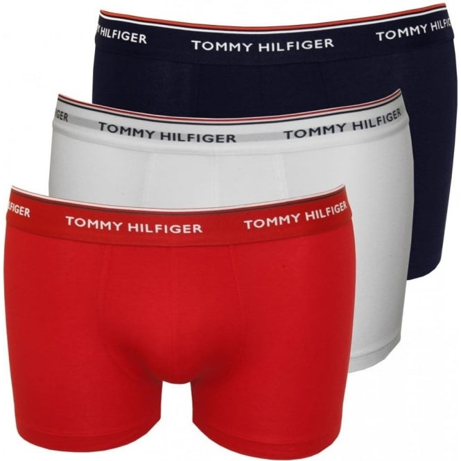 49677ed9f149d5 Tommy Hilfiger 3-Pack Premium Boxers in Navy, Red & White | UnderU