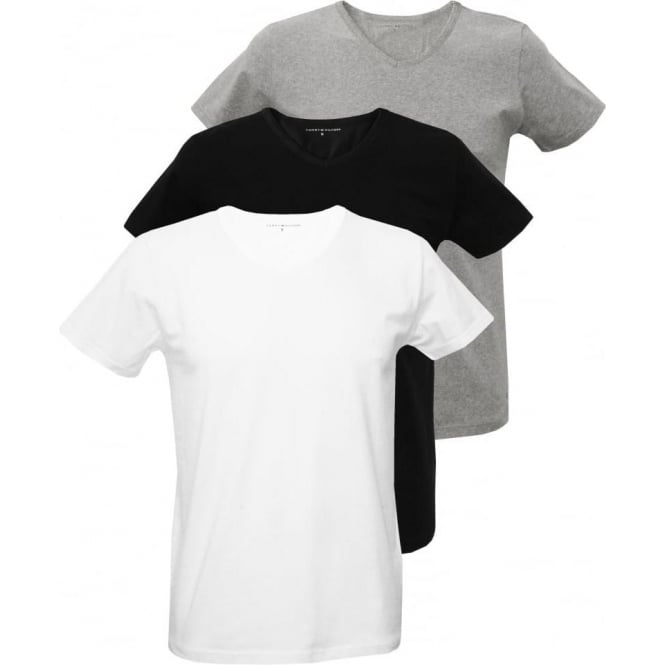 Tommy Hilfiger 3-Pack Premium V-Neck T-Shirts, Black/White/Grey