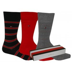 f0ed19a8 3-Pack Stripes & Plain Socks Gift Box, Navy/Grey/Red 3 Pack · Tommy Hilfiger  ...