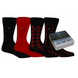 4-Pack Collectible Gift-Tin Check & Plain Socks, Navy
