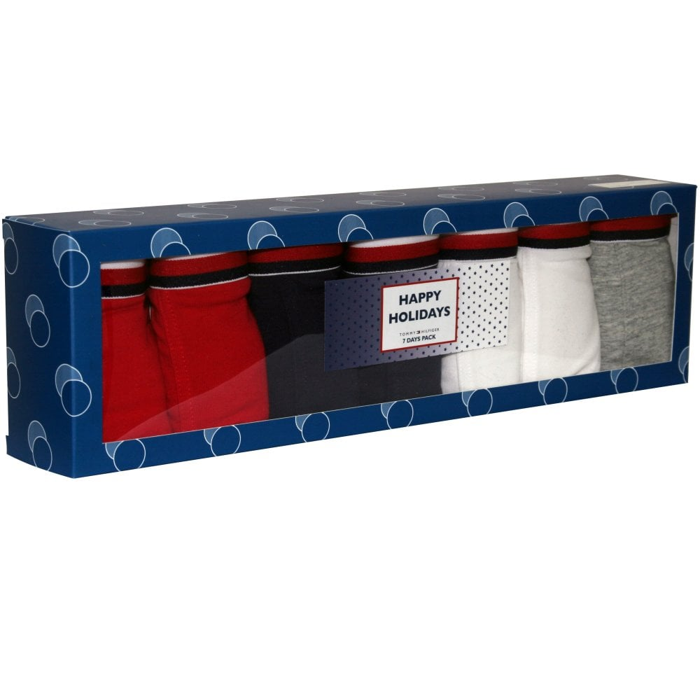 Red//White//Grey//Navy Age 12-14 Red//white//grey//navy Tommy Hilfiger Boys 7-Pack Logo Stripe Boys Boxer Trunks
