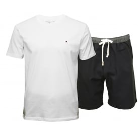 Authentic Woven Shorts & T-Shirt Pyjama Set, White/Navy