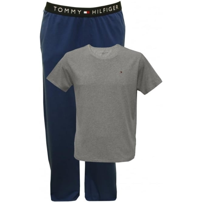 Tommy Hilfiger Conan Short-Sleeve T-Shirt & Jersey Pyjama Bottoms Gift-Set, Grey/Blue