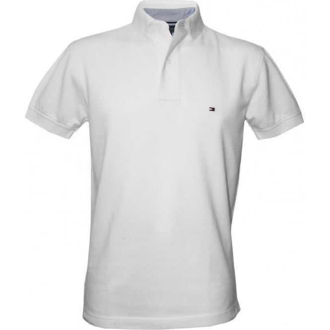 bf50fb24 Tommy Hilfiger Core Knitted Pique Polo Shirt, Classic White | UnderU