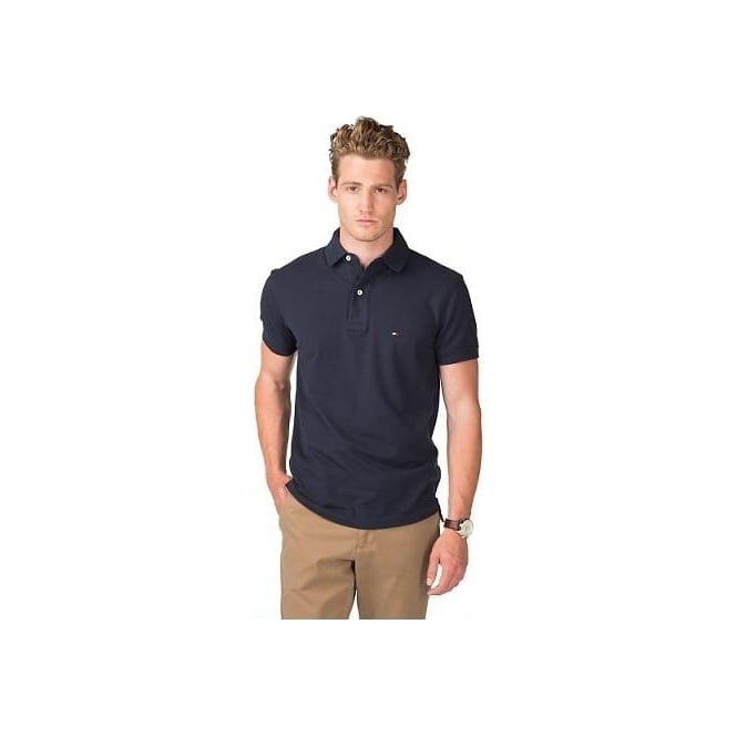 2e091862 Tommy Hilfiger Core Knitted Pique Polo Shirt, Midnight Navy | UnderU