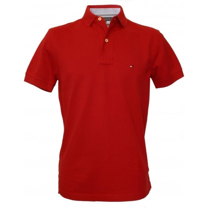 54e3c9a5 Tommy Hilfiger Core Knitted Pique Polo Shirt, Summer Red | UnderU