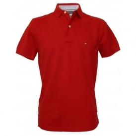 Core Knitted Pique Polo Shirt, Summer Red