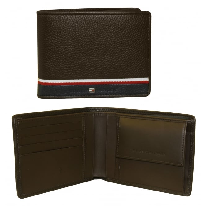 Tommy Hilfiger Corporate Coin-Pocket Leather Wallet, Dark Brown