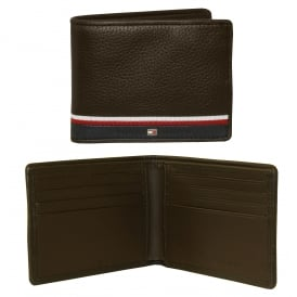 Corporate Mini Credit-Card Leather Wallet, Dark Brown