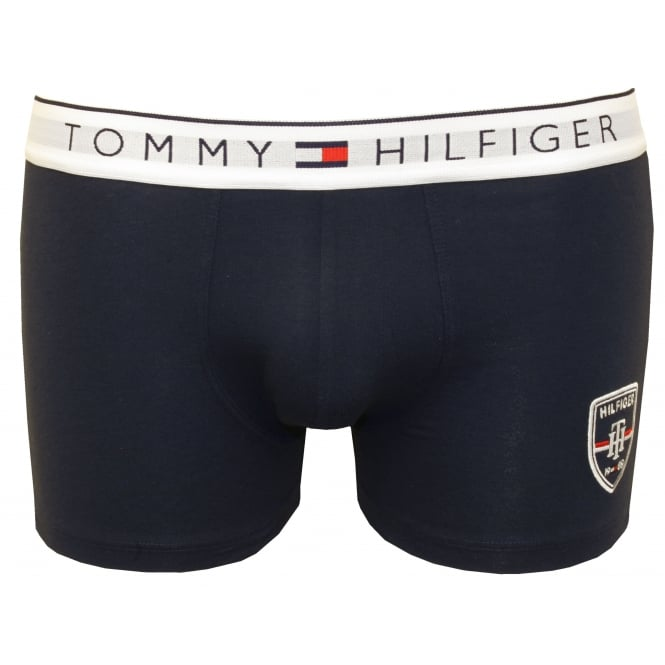 Tommy Hilfiger Embroidered Hilfiger Shield Prep Boxer Trunk, Navy