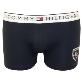 Embroidered Hilfiger Shield Prep Boxer Trunk, Navy